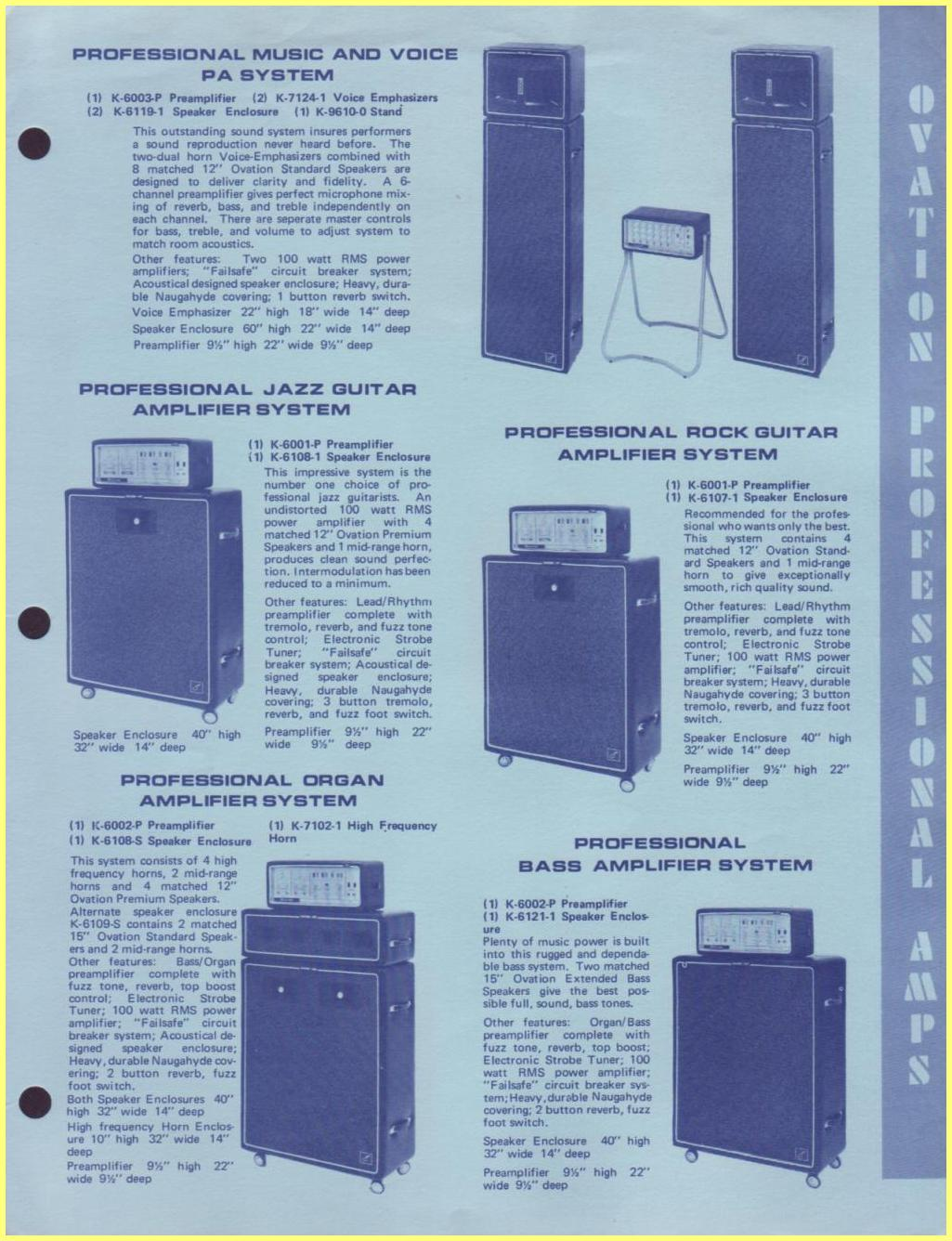 60s Ovation Amplifiers Us Info Sheet 60 Watt Amplifier Circuit