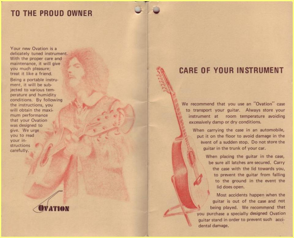 70 S Ovation Acoustic Guitars Owner S Manual border=