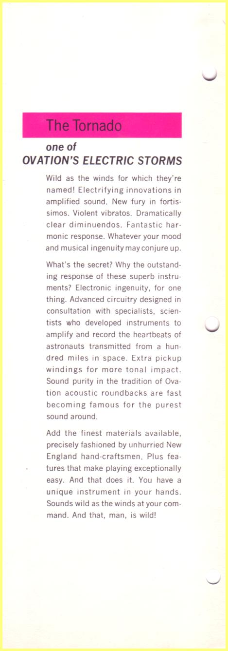 Ovation Tornado Brochure
