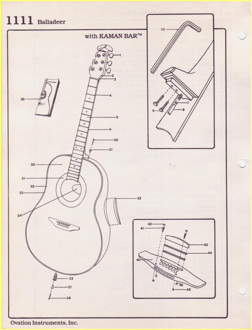 Ovation Parts Catalog Diagram Of Guitar