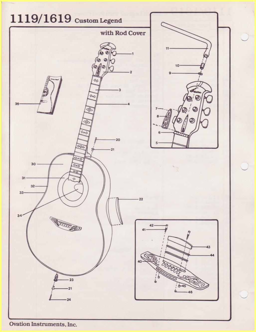 Ovation parts catalog 1119 1619 custom legend with rod cover cheapraybanclubmaster Choice Image