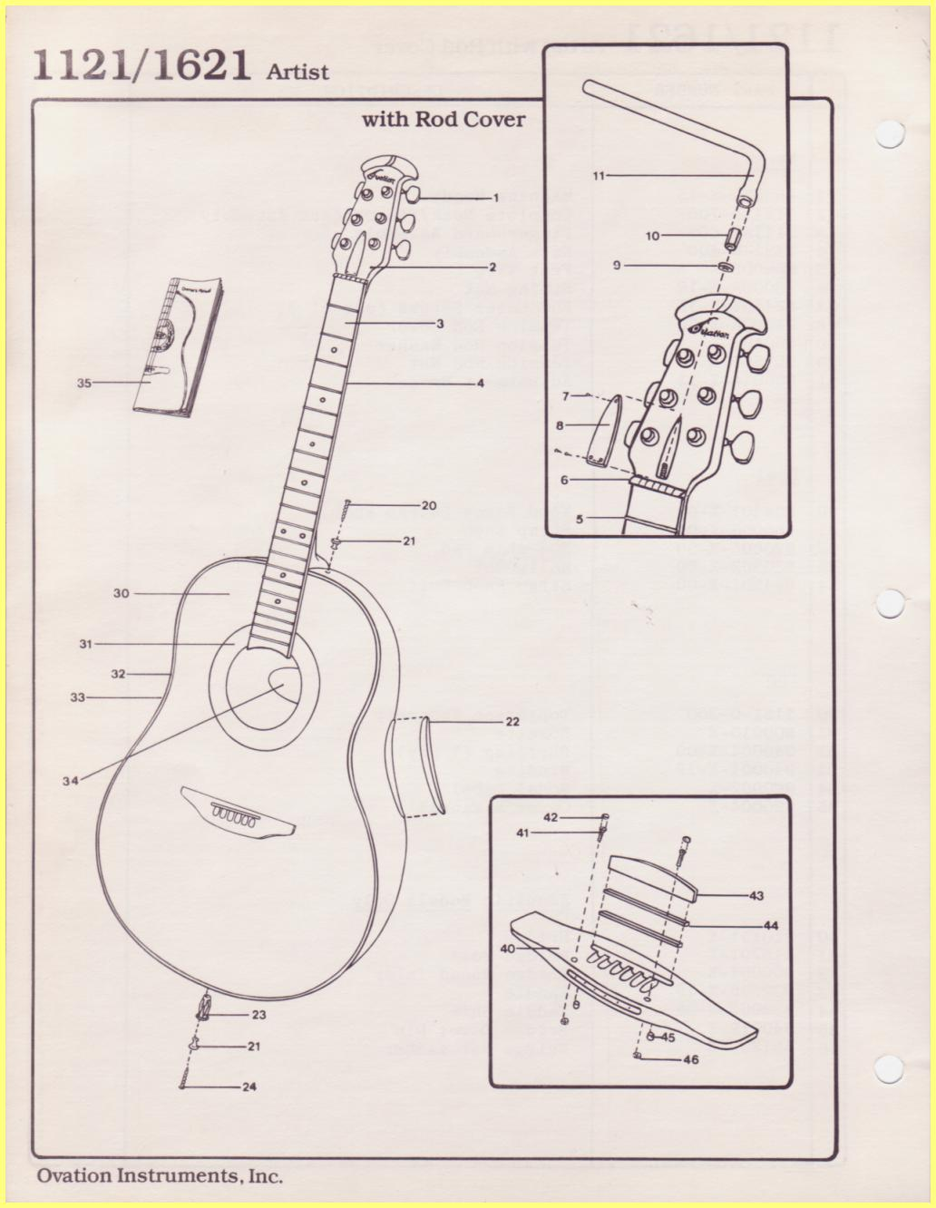 Ovation Parts Catalog Electric Guitar Wiring Schematics 1121 1621 Artist With Rod Cover