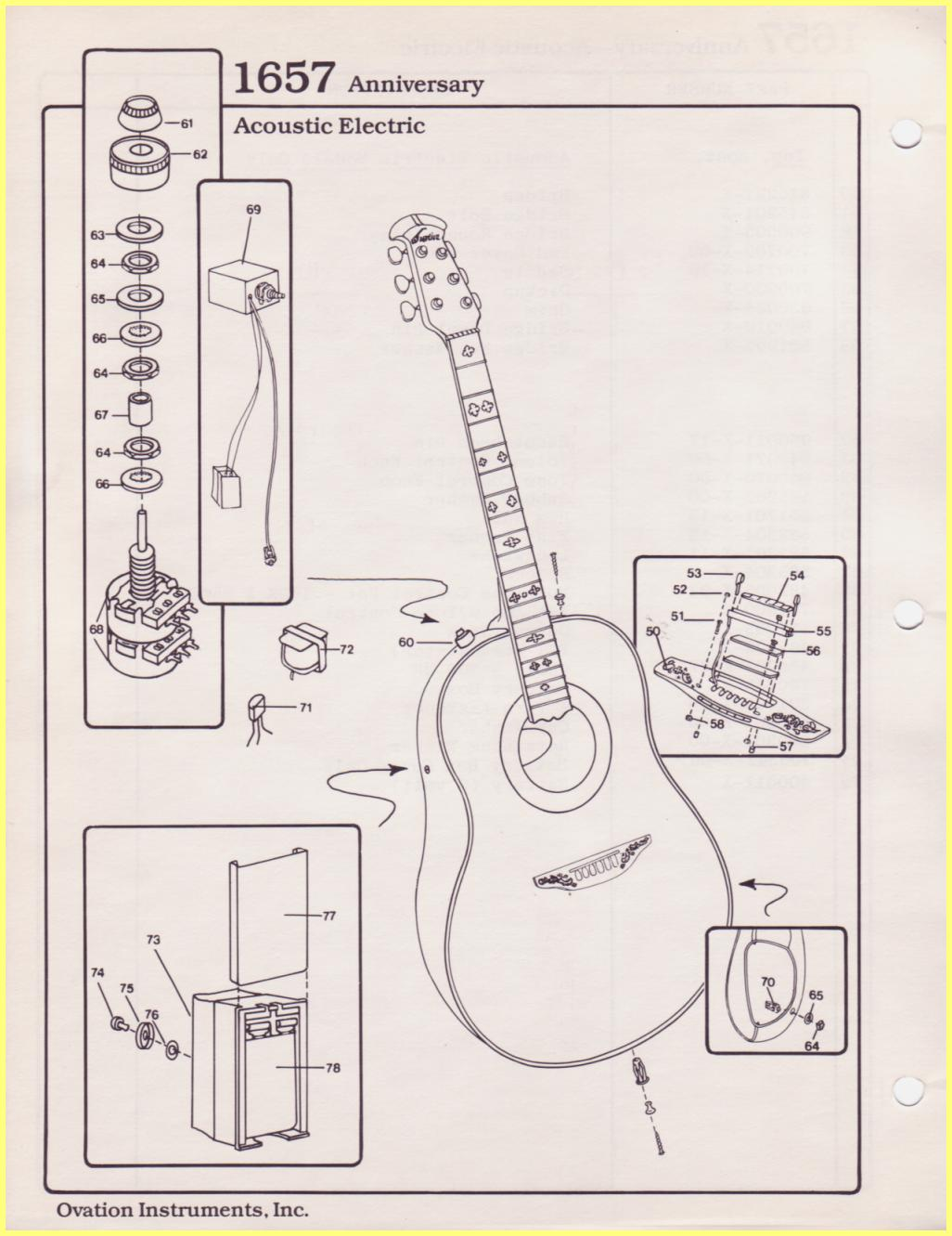 Ovation Parts Catalog Electric Guitar Diagram Of The Anniversary