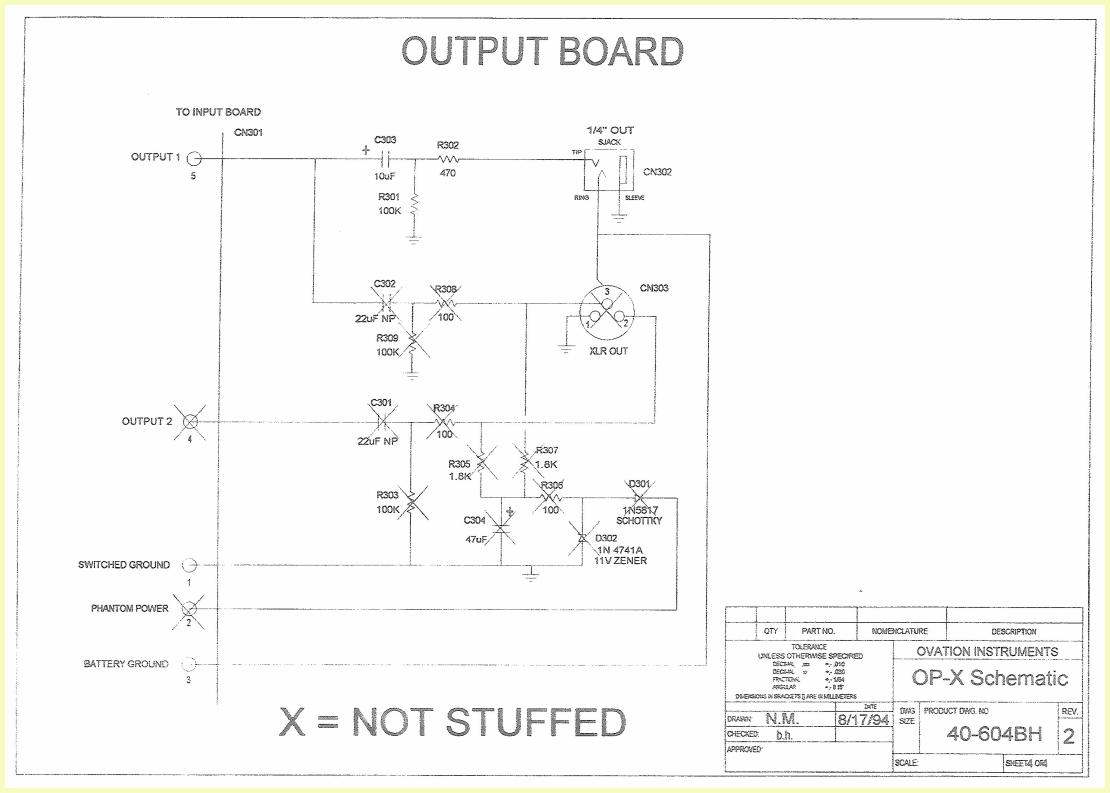 ovation op x pre amp schematic Ovation 1617 Pre Amp Ovation Neck Dimensions